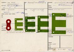 Karel Martens, Untitled, 2006, Letterpress monoprint on catalogue card from the Stedeljk Museum Amsterdam, artist Quellinus