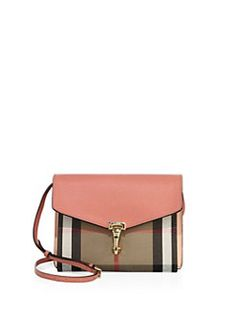 Burberry - Macken Small Leather & House Check Canvas Crossbody Bag