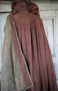 Early century Printed cotton,wonderfully pleated at the base of the hood, with a murky green and brown lining. Historical Costume, Historical Clothing, Jane Austen, Renaissance, French Fabric, Period Outfit, Cloak, Capes, Empire