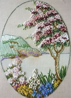 Wonderful Ribbon Embroidery Flowers by Hand Ideas. Enchanting Ribbon Embroidery Flowers by Hand Ideas. Embroidery Needles, Learn Embroidery, Hand Embroidery Stitches, Silk Ribbon Embroidery, Hand Embroidery Designs, Vintage Embroidery, Embroidery Techniques, Cross Stitch Embroidery, Embroidery Supplies