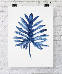Tropical+Leaf+II+Watercolor+Print+in+Denim+by+driftwoodinteriors