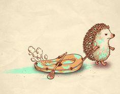 As ilustrações de Ben Chen seguem um estilo visual simples,mas carregado de referêcias nerd e da cultura pop, e com uma dose de humor em seus desenhos.Suas ilustrações são criadas para estampas de camisetas, onde são vendidas no site Threadless.Com… Continue Reading → Happy Hedgehog, Hedgehog Pet, Cute Hedgehog, Hedgehog Illustration, Cute Illustration, Animals And Pets, Cute Animals, Hedgehog Drawing, Inflatable Boat