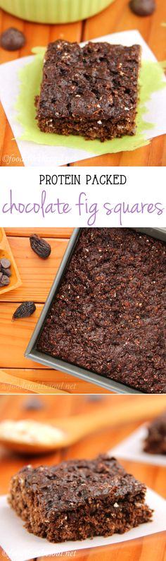 Chocolate Fig Squares -- an easy recipe for healthy & clean-eating snack bars!  Barely 70 calories & 4g+ of protein!