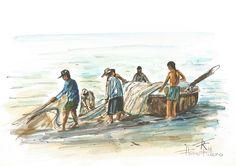 Pescadores - Aquarela de Flávio Ribeiro