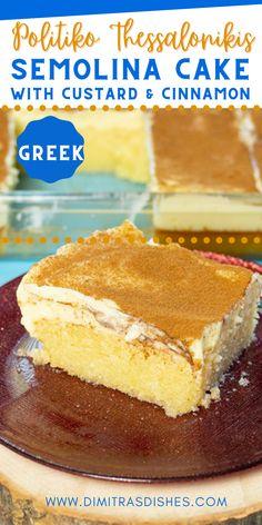 Greek Dessert Recipes, Greek Recipes, Greek Christmas, Christmas Ideas, Creative Desserts, Easy Desserts, Bougatsa Recipe, Greek Cake, Semolina Cake