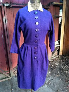 Items similar to Whoa There! Awesome Royal Rock n Roll Fleck Purple Pin Up Angora Trim Long Sleeve Deco Doll Dress w/ Belt RARE Color JD Buttons on Etsy Fashion Details, Rock N Roll, Pin Up, Fancy, Shirt Dress, Sewing, Purple, Awesome, Long Sleeve