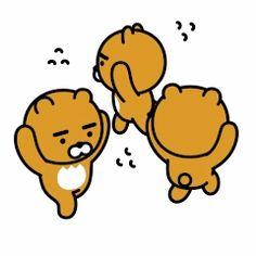 Bear Emoticon, Ryan Bear, Kakao Ryan, Kakao Friends, Gifs, Presents For Friends, Line Friends, Cute Doodles, Kawaii Drawings