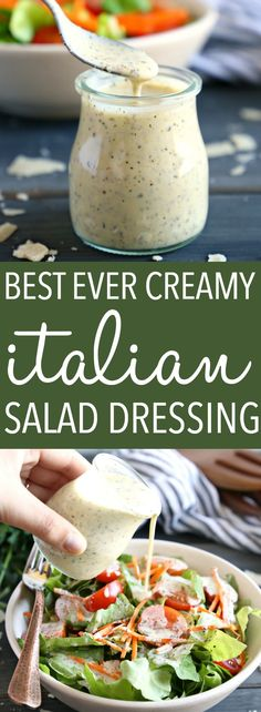 ADJUST: omit cheese —————————— This Classic Creamy Italian Salad Dressing recipe is one for the books! It's packed with delicious herbs and makes the perfect creamy addition to any garden salad! And it's SO easy to make and healthy too! Creamy Italian Salad Dressing Recipe, Salad Dressing Recipes, Italian Salad Recipes, Salad Dressing Homemade, Salad Dressing Healthy, Healthy Salad Dressings, Homemade Italian Dressing, Italian Salad Dressings, Best Salad Recipes