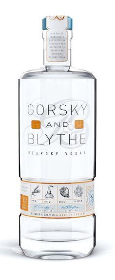 Gorsky and Blythe - Bespoke Vodka. Vodka Drinks, Alcoholic Drinks, Liquor Bottles, Vodka Bottle, Premium Vodka, Bottle Packaging, Bottle Design, Design Packaging, Label Design