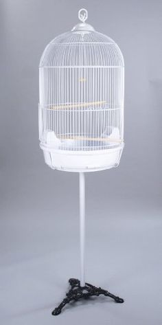 Amazon.com : Round Bird Cage With Stand Finch Canary Cockatiel Parakeet Dome Top White : Birdcages : Pet Supplies