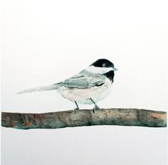 Sweet Little Chickadee  Watercolor Painting by trowelandpaintbrush, $20.00