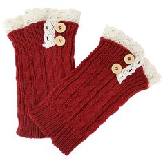 Red Cable Knit Boot Cuff Topper Liner Leg Warmer With Lace Trim ($9.49) ❤ liked on Polyvore featuring intimates, hosiery, leg warmers, leg wear, red, thick leg warmers, cable knit leg warmers, boot cuff leg warmers, lace leg warmers and red hosiery