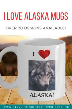 This is the perfect gift for the person who loves the state of Alaska.  Over 70 beautiful designs available.  #alaskagift #giftmug #wolfmug
