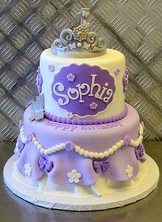 30 Ideas For Birthday Cake Girls Purple Girly Cakes, Fancy Cakes, Fondant Cakes, Cupcake Cakes, Sofia The First Cake, Birthday Cake Girls, Princess Birthday, Princess Sophia Cake, Princess Sofia Party