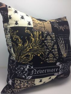 Each Pillow will vary due to the large print of the fabric. If you want a particular image on the pillow please let us know in the comments at checkout. We have provided a ... #etsy #handmade #dogs #mothersday #fathersday #gifts #doglovers #noveltypillows #mancave #gothic #hollywood #horror #scary #nevermore #raven #skulls