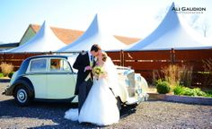 Outside the marquee of southend barns, donnington chichester, west sussex Barn Photography, Chichester, Barn Wedding Venue, Barns, Wedding Dresses, Bride Dresses, Bridal Gowns