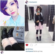 """愛♡Fashion: Rikka & Kimiko on Instagram: """"#IGSpotlight #StyleSpotter- This is the Kawaii @blushpastel She loves Japanese Harajuku fashion. She's very lovely, go check her out!!~ ♡ Top→ simple black shirt from IKKS Skirt→ Barbie Pink Denim Jacket→ Off Brand Backpack→ Jean Paul Gaultier, East Pack Leg Warmer→ Handmade Boot→ A french shop (Photo editing: @kiimikoh) - #blog #blogger #fashionblogger #fashionista #fashion #style #trends #outfit #ootd #aesthetic #pinkaesthetic #grid #minimalism…"""