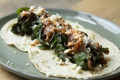 My favorite vegetarian tacos from Chef Rick Bayless | Swiss Chard (or Spinach) Tacos with Caramelized Onion, Fresh Cheese and Red Chile