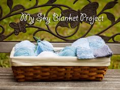 Knitting with granny squares - Sky Blanket project.