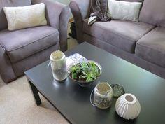 coffee table decor, succulents, mercury glass