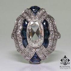Antique Art Deco Platinum Diamond & Sapphire Ring – Rozental Antiques by jasmine
