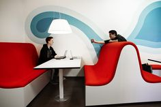 The wall graphics function well together with the special designed interior / Photo: Kim Wendt