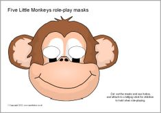 Simple printable masks featuring five cheeky monkey characters. Monkey Jump, Cute Monkey, Printable Animals, Printable Masks, Printables, Monkey Mask, Monkey Costumes, Five Little Monkeys, Storybook Characters