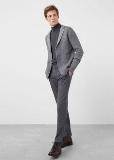 Wollstrickjacke mit revers - Cardigans und pullover für Herren | MANGO Man Deutschland