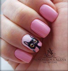 New nails french manicure color nailart ideas Cat Nail Designs, New Nail Art Design, Short Nail Designs, Nails Design, Cat Nail Art, Cat Nails, Pink Nails, Manicure, Nailart