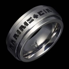 """Stainless Steel """"RAMMSTEIN"""" Ring - with black engraved lettering"""