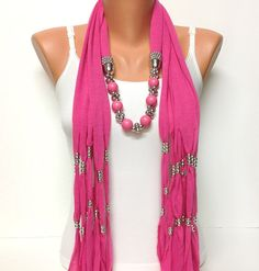 pink jewelry scarf  Christmas gift or for you