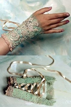 Lace and shabby chic ~ Victorian / Steampunk Hand Accessories, Fashion Accessories, Lace Cuffs, Lace Gloves, Steampunk Fashion, Steampunk Vest, Beaded Embroidery, Beaded Lace, Diy Clothes