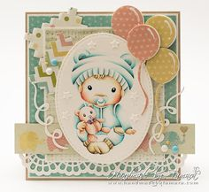 From our Design Team! Card by Tamara Potočnik featuring Baby Luka and these Dies - Large Lacy Border, Stitched Elements, Swatch and Buttons, Balloons (May club kit) :-) Shop for our products here - shop.lalalandcrafts.com Coloring details and more Design Team inspiration here - http://lalalandcrafts.blogspot.ie/2016/04/inspiration-friday-lace-it-up.html
