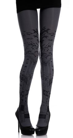 City Print Tights Grey & Black. Look like an urban fashion marvel in a pair of these daring Zohara designer tights in Grey with Black print, feature an attention-grabbing urban pattern with signs from your typical city street, topped with a sky full of in-flight birds, all the way around both legs, $29.95 http://www.trendylegs.com/shop/city-print-tights-grey-black/