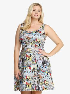 """Mickey and Minnie's comic adventures are captured on this sundress. Made from smooth and stretchy scuba fabric in a fit and flare style.<br><br><b>Model is 5'9"""", size 1</b>"""