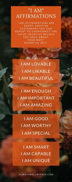 """How to Heal Your Heart and Mind with the Best """"I AM"""" Affirmations — Always Well Within Positive Affirmations Quotes, Morning Affirmations, Affirmation Quotes, New Energy, Emotional Healing, Life Motivation, Negative Thoughts, Inner Peace, Self Esteem"""