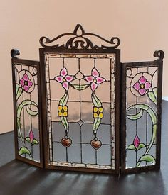 Miniature dollhouse wrought iron style fireplace screen with handpainted stained acrylic panels 1:12 scale