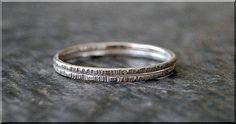 Set of 2 Sterling Silver Twig Ring Bark Texture by thewrappedpixie