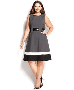 Calvin Klein Plus Size Colorblock Belted Dress - Dresses - Women - Macy's