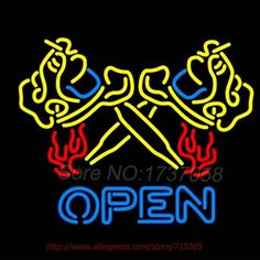 Flaming Tattoo Machine OPEN Neon Sign Handcrafted Neon Bulbs Indoor Real Glass Tube advertise Impact Lamp Store Display 31X24 #Affiliate