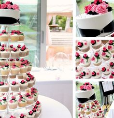 Pink, Black & White Wedding Cupcakes with a Small Cutting Cake White Wedding Cupcakes, Black And White Wedding Cake, Cupcake Stand Wedding, Cake Pops, Cupcakes Cool, Pink Black Weddings, Cake Tower, Traditional Wedding Cakes, Cupcake Display