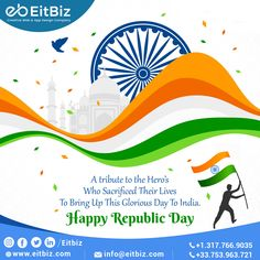 The tricolor gives the messages of Peace Humanity & Prosperity. Let us remember the golden heritage of our country and feel proud to be a part of India. Proud to be an Indian. Happy Republic Day...!! Mobile Web Design, App Design, Custom Website Design, Ecommerce Solutions, Republic Day, Good Communication, Digital Marketing Services, Design Agency, Software Development