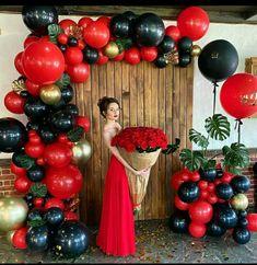 Diy Diwali Decorations, Quince Decorations, Birthday Balloon Decorations, Home Wedding Decorations, Gold Birthday Party, Adult Birthday Party, Red Party Themes, Ballon Backdrop, Birthday Background Design