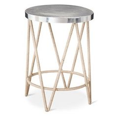 Threshold™ Rope Wrapped Accent Table with Hammered Metal Top