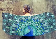 100 SILK scarf Hand painted Peacock in Aquas stunning por Shovava, $129.00
