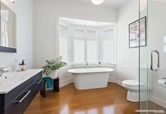 The walls of this spacious family bathroom are painted in Resene Rakaia and trimmed with Resene Alabaster. Home, Interior Styling, Interior Color Schemes, Wall Trim, Interior, House, Master Bedroom Paint, Colorful Interiors, Cool Backdrops