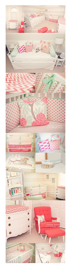 Beautiful nursery idea, too much white but love all the shades & pink patterns