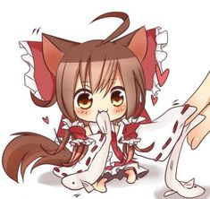 this is sooo cute! like thinking of something yummy. Kawaii Chibi, Chibi, Cute Art, Touhou Anime, Chibi Girl, Anime Child, Nekomimi, Chibi Characters, Cute Anime Chibi