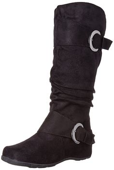 Brinley Co Women's Augusta-02 Slouch Boot, Black *** To view further for this item, visit the image link.