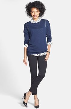 Faux Leather Trim Skinny Ankle Pants (Regular & Petite) available at #Nordstrom